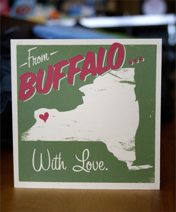 From Buffalo With Love - Hand Printed Silkscreen Greeting Card 5 x 5