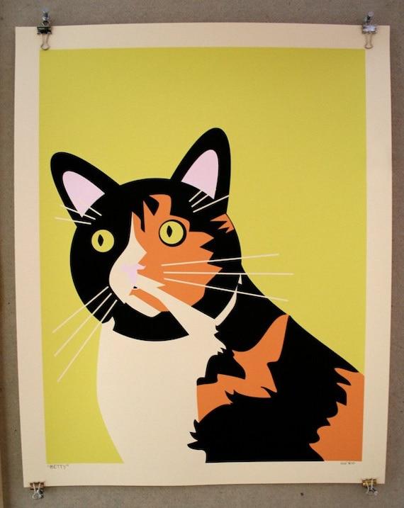 Betty the Cat - City of Buffalo Animal Shelter Benefit Silkscreen Art Print - Hero Design Studio