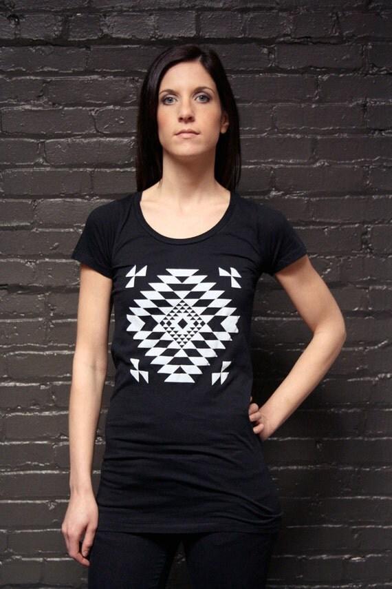 Native Inspired Women's Black Tunic Top/Tee - Hand Silkscreen Printed Shirt