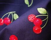 Sweet cherries on dark blue \/ cotton fabric