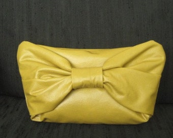 Handmade vegan leather vinyl DIJON mustard clutch purse