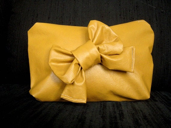 Dijon Mustard yellow gold vegan leather vinyl clutch pouch or makeup bag