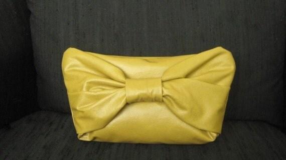 Handmade vegan leather vinyl DIJON mustard clutch purse
