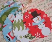 Assorted Christmas Oval Scalloped Gift\/Hang Tags-Set of 12