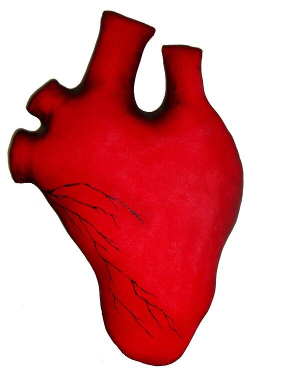 Primitive Handmade Gothic Human Heart Art Pillow