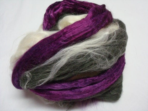 Deep Purple  - Bamboo Rayon, Handdyed, White and Black Carbonized - 4.5 oz.