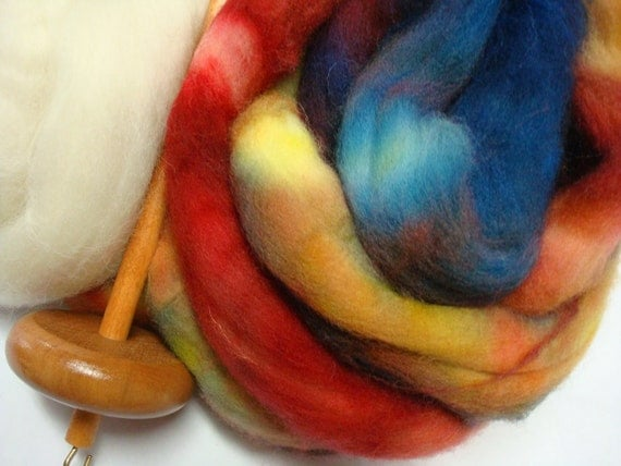 Drop spindle Kit With Let's Party Colorway  Spinning Fiber