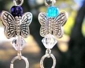 Blue Butterfly Earrings - Sterling Silver wire