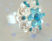 Crystal Star - a vintage 1980's glass Cocktail Ring