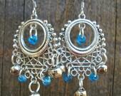 Blue Bollywood Chandelier Earrings