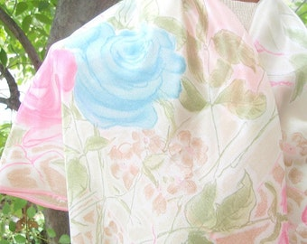 Sweetheart Rose - a vintage 1980's Vera Neumann hand-painted pure silk scarf - 28 inches - tout soie - MINT