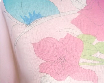 Pink Butterfly - a vintage 1980's Vera Neumann hand-painted sheer scarf