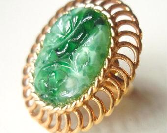 Vintage 1950's Napier Dinner Ring - Peking Glass