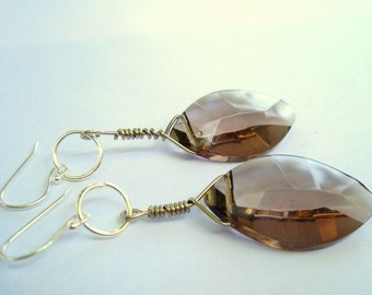 Smokey Topaz Glass Crystals on Sterling Silver