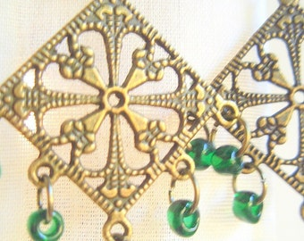 Celtic Glass Chandelier Earrings