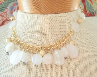 Frosted Ice - a vintage 1980's charm necklace