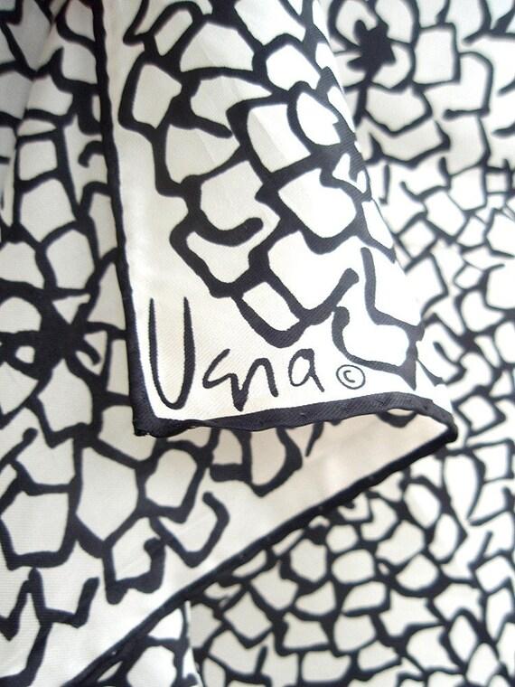 Monochrome Flowers Op-Art - a vintage 1970's Vera Neumann Lucky Ladybug silk scarf
