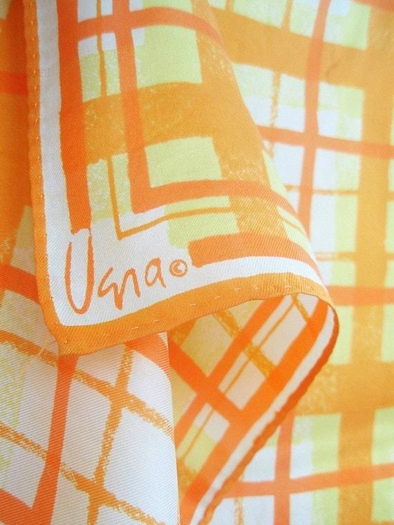 Tangerine Plaid - a vintage hand-painted 1970's Vera Neumann Mod Silk Scarf