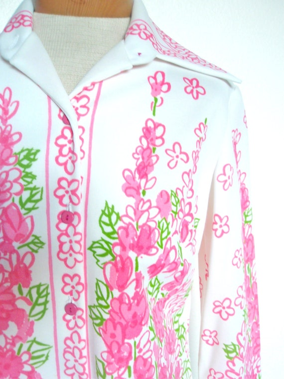 Hot Pink Poppies - a rare, vintage 1960's Vera Neumann hand-painted, Lucky Ladybug Shirt Jacket