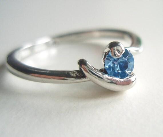 Little Blue Crystal Vintage Ring