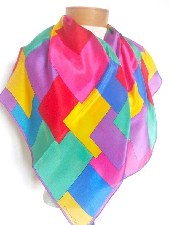 Classic Color Block - a vintage 1980's Oscar de la Renta pure silk scarf - 31 inches