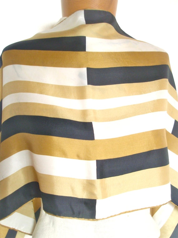Take 50% off all Vera - Gold Color Block - a vintage 1970's Vera Neumann Op-Art Silk Scarf
