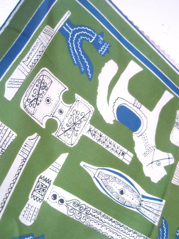 Scandinavian Folk Instruments - a rare, collector's gem, vintage 1960's Vera Neumann silk scarf - RESERVED