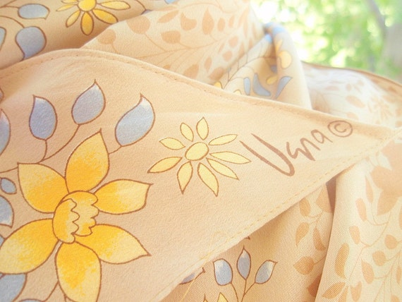 Morning Bloom - a vintage 1980's hand-painted Vera Neumann silk scarf