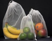 Reusable Produce Bags - BASIC set of 3 mesh bags