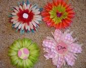 4 Boutique Style Flower Clips  LOT 4