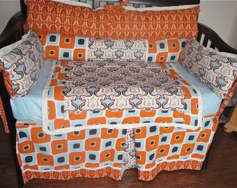 SALE Baby Crib Bedding Retro Blue and Orange 4 piece Set - baby bedding, nursery bedding, gender neutral bedding, crib bedding