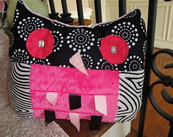 Hoot Pink Owl Pillow SALE