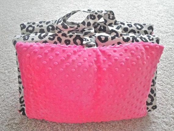 Black and White Leopard Nap Mat Cover with Hot Pink Minky Dot plus FREE Flannel Blanket Special