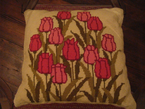 Vintage Needlepoint Pillow Cover