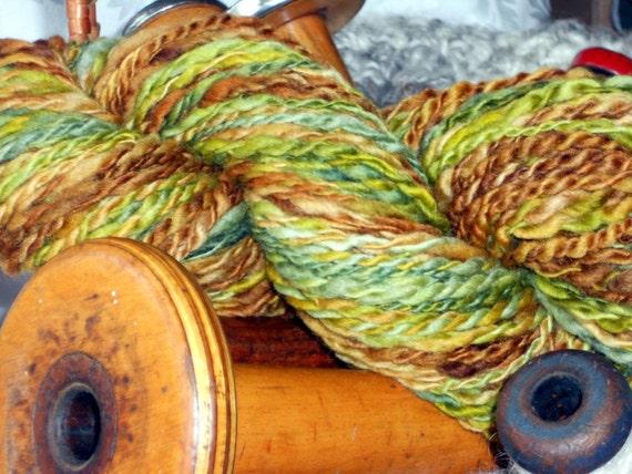 Handspun yarn, Camoflauge, Blue Faced Leicester, Green Rust  Brown