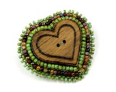 Wooden Heart Brooch Beaded Button Bead Embroidered Green Brown Wood: ENCHANTED FOREST
