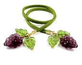 Beaded Bookmark Grape Mini Book Thong Purple and Olive Green : GRAPEVINE
