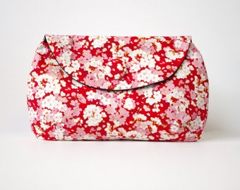 Red cherry blossom clutch purse