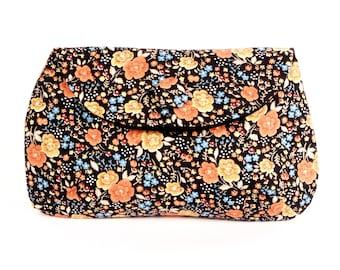 Black & Yellow Vintage Floral clutch purse