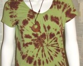 Upcycled Juniors Tie Dye Tee Shirt Size Medium Earthy Colors