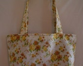 Brown and Cream Floral Tote
