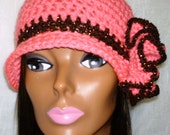 Crochet Flapper Hat Cloche with Flower: Pink and Brown - Phoebe
