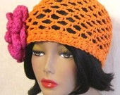 Crochet Hat - Orange Mesh Crochet Hat with Pink Flower : Crochet Spring / Summer Fashion Accessory