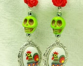 Skull, Rose and Rooster Earrings in Green and Red