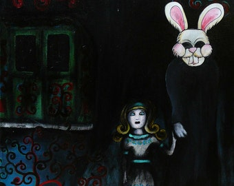 Down The Rabbit Hole - Original Painting from Alice In Wonderland Series
