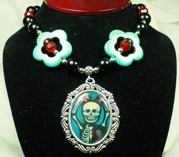 Unrequited Love Art Necklace with Blue Stone Flowers, and Black and Red Glass