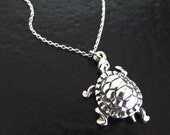 Sterling Silver Turtle Necklace As Seen On Jules, Courtney Cox, Of Cougar Town