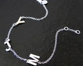 Sideways Initial Bracelet With Your 3 Initials - Hammered Sterling Silver - You Asked For It, So Here It Is