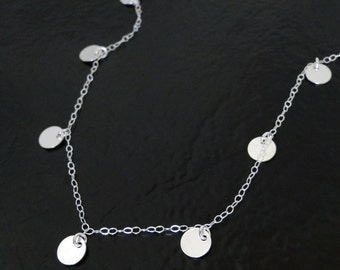 Coin Drop Necklace In Sterling Silver - Floating Dots - Mimi Ikonn, Luxy Hair - Round Disc Drop Necklace