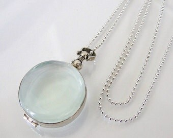Glass Locket Necklace, 18 Inch Chain, Sterling Silver Clear Glass for Relics, Mementos, Keepsakes, or Phoos